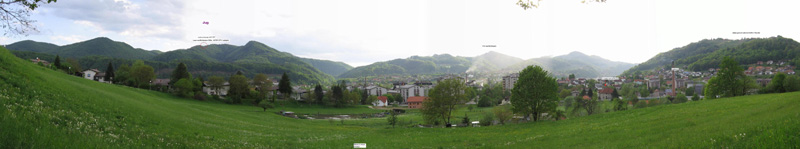 Planing new repeater site - wide angle panoramic view on town Sevnica  /  photo by S56CT